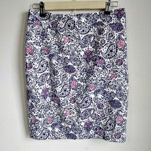 Ann Taylor white pink purple paisley pencil skirt
